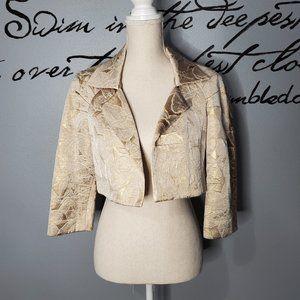 TERI JON Rickie Freeman Gold Brocade Crop Jacket